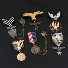 Novo retro águia macho lapela pino medalha terno masculino borla broche de metal pinos emblema vintage masculino e feminino acessórios jóias baratas