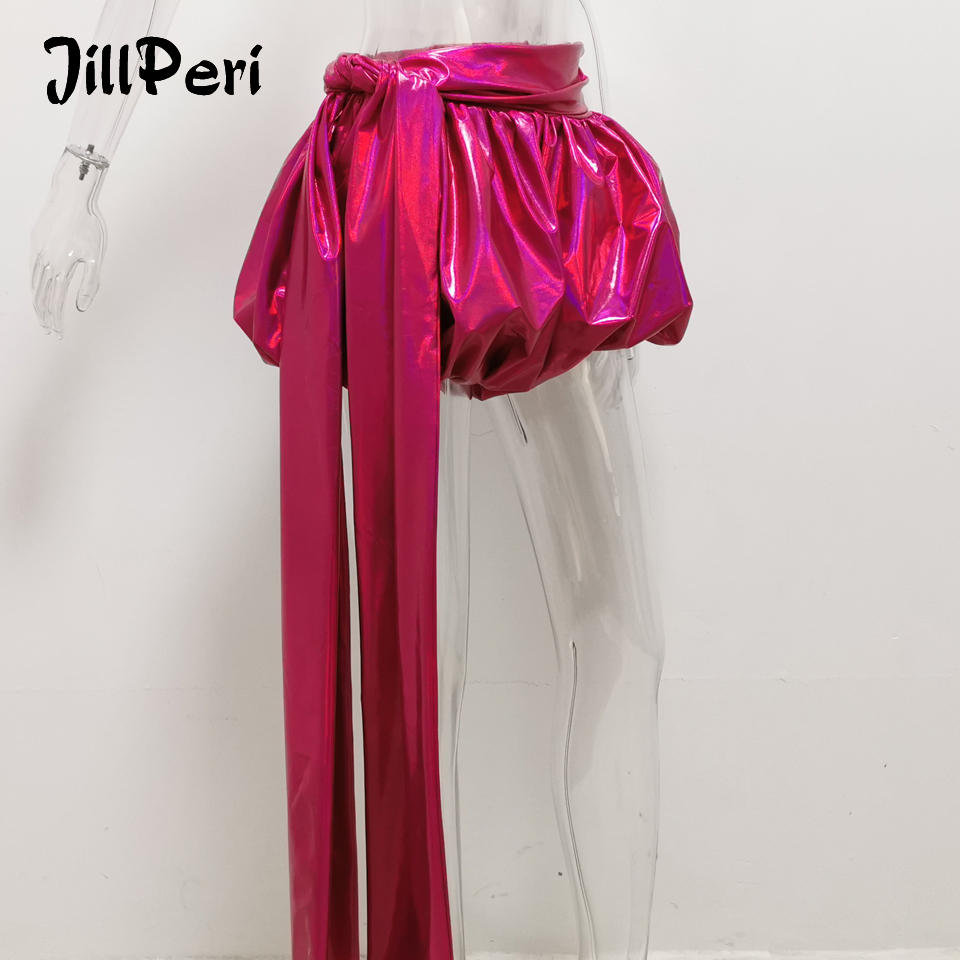 JillPeri Women Sexy Club Wear Shorts High Stretch Metallic Long Drop Fashion Celebrity Bottoms Sparkle Burning Lantern Shorts