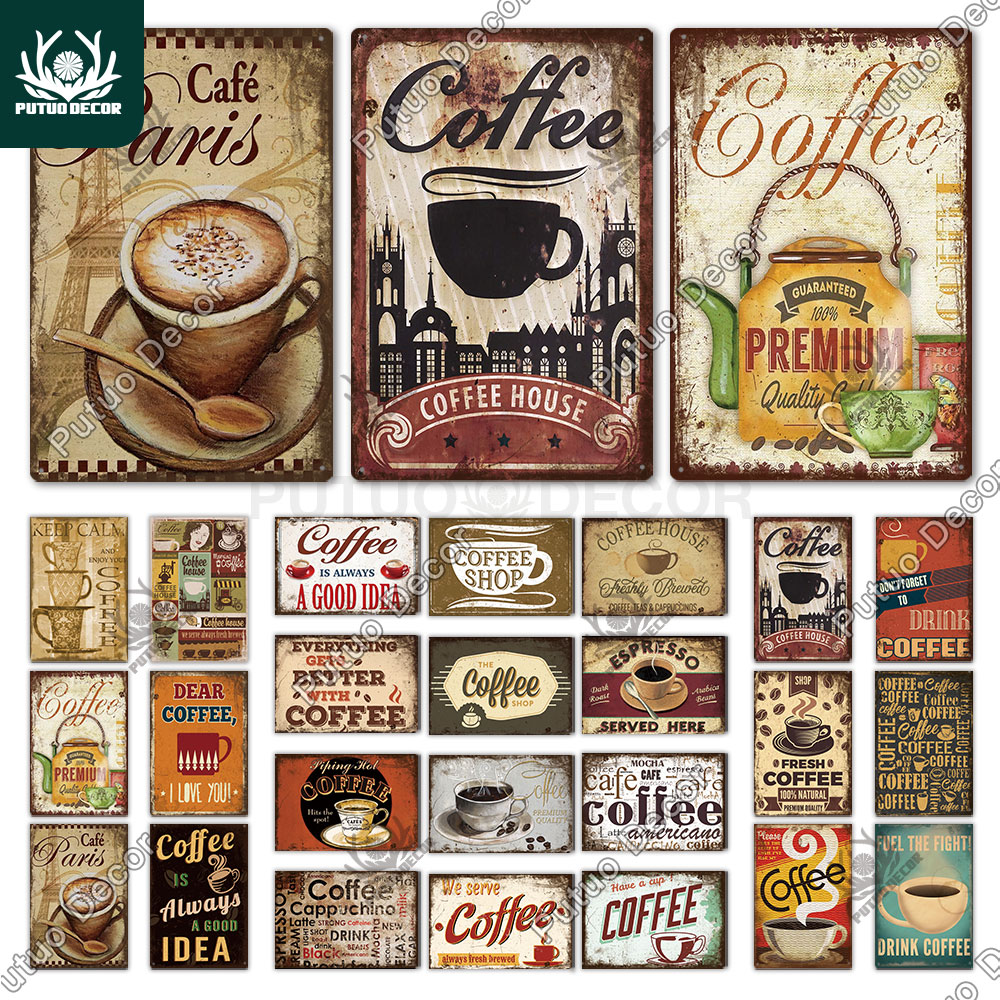 Putuo Decor Coffee Vintage Tin Sign Metal Sign Decorative Plaque Retro Plate Cafe Kitchen Living Room Coffee Bar Decoration