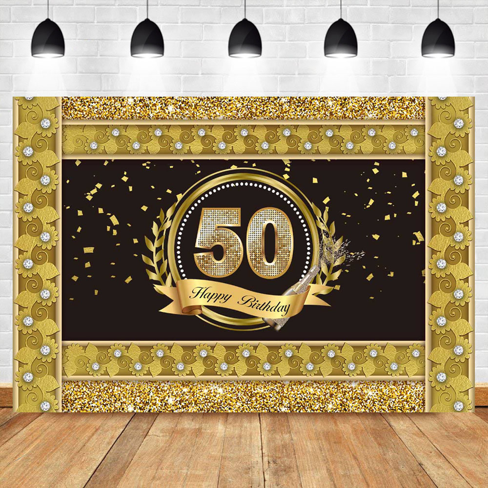 NeoBack <font><b>Happy</b></font> <font><b>50th</b></font> <font><b>Birthday</b></font> <font><b>Backdrop</b></font> Gold Border Diamond Photography Background <font><b>Birthday</b></font> Party Photo Booth Banner Decorations image
