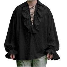 Hombres Retro con volantes Pirate Shirt Renacimiento medieval Poeta Vampiro Colonial Jabot Blusa Ropa de manga larga