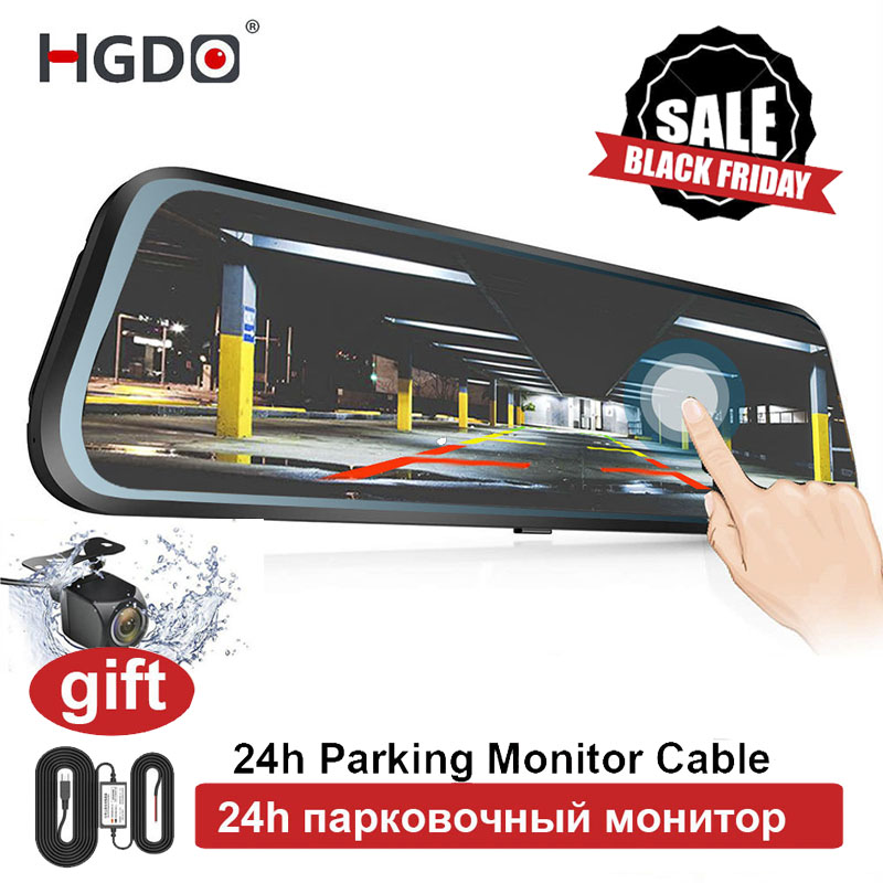 "HGDO 10"" Rearview Mirror Car Camera Car DVR Dash cam Full HD Touch screen 1080P dvrs Dual Lens Video Recorder Autoregister"