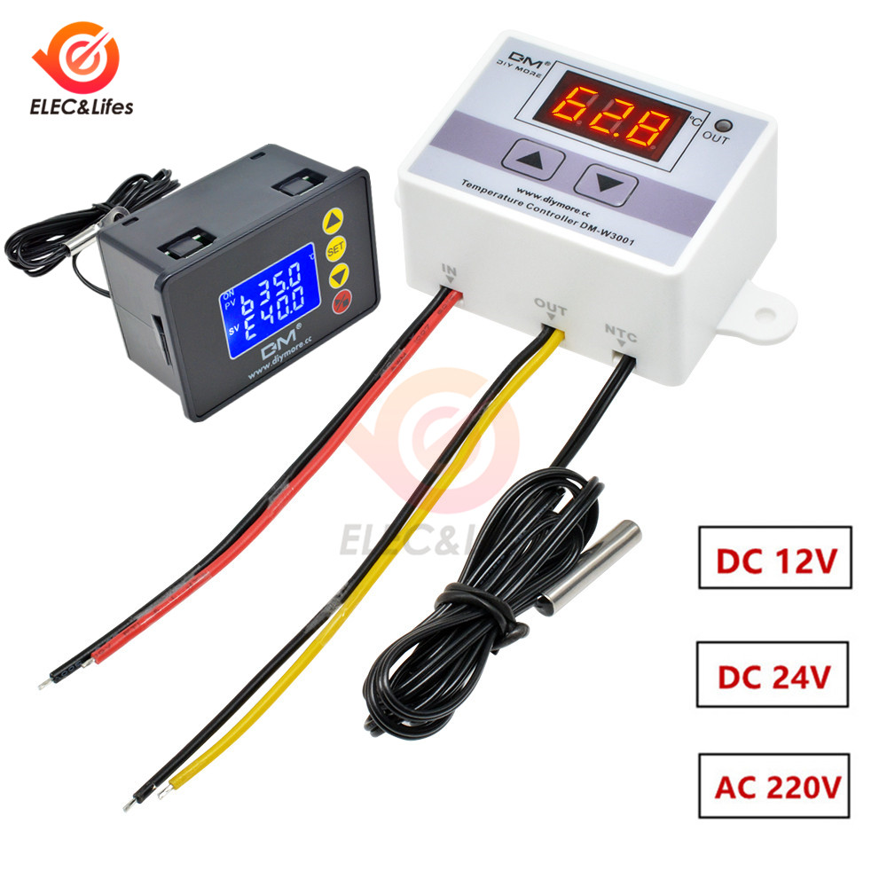 AC110V 220V <font><b>W3001</b></font> <font><b>XH</b></font>-<font><b>W3001</b></font> Digital Thermostat for incubator Temperature Controller DC 12V 24V Thermoregulator temperature tester image