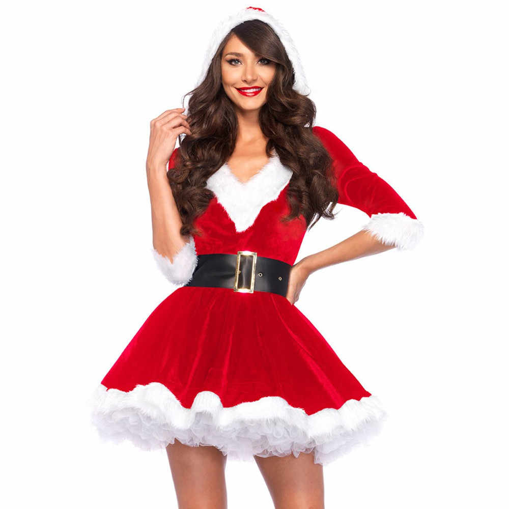 Fashion Adults Lady Women Slim Fit Hooded Sexy Velvet Christmas Suit Costumes Female  Santa Claus Cosplay Xmas Party Fancy Dress