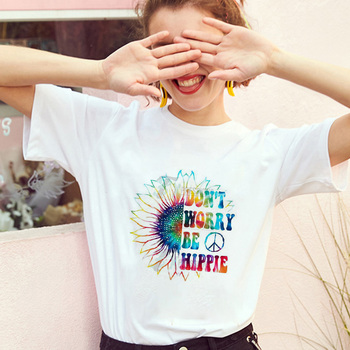 Harley Sunflower women clothes 2019 Don't worry be hippie harajuku kawaii streetwear korean style female oversized t shirt