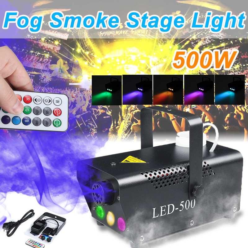 Professional 500W Disco Colorful Smoke Machine Mini LED Remote Fogger Ejector DJ Christmas Party Stage Light Fog Machine