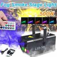 Professionale 500W Disco Colorato Macchina del Fumo Mini LED Remote Fogger di Espulsione DJ Festa Di Natale Della Luce di Nebbia Macchina