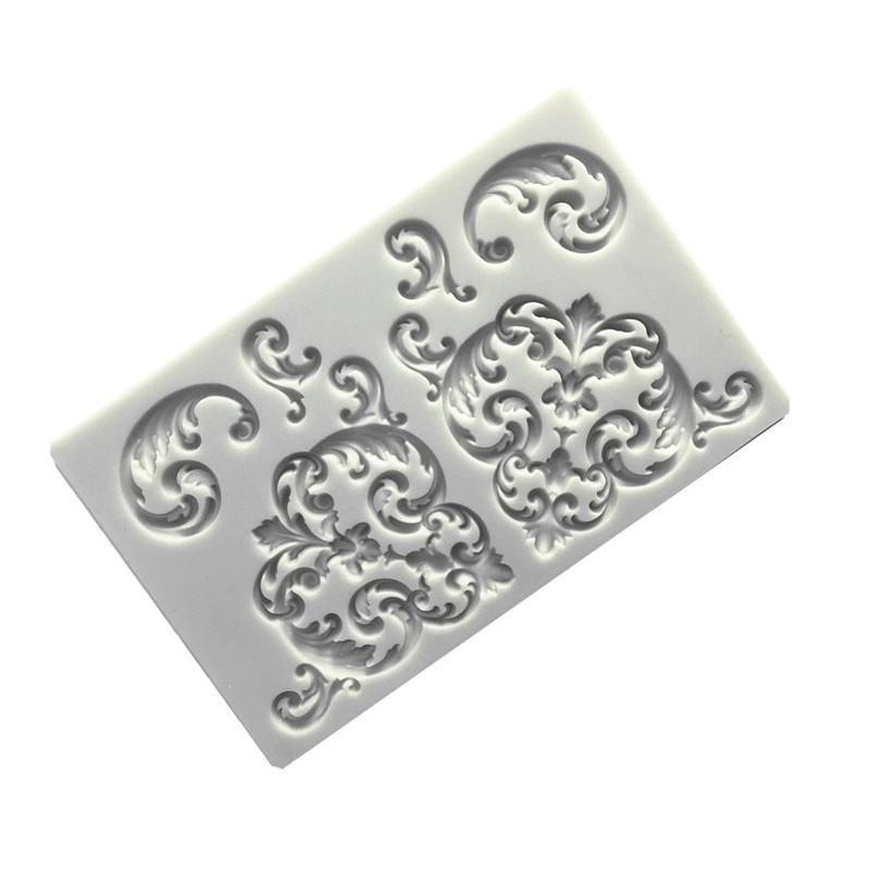 Designer diy padrão de renda barroco molde de silicone 3d painel parede moldes de concreto moldes para molde de argila