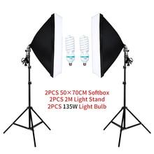50*70cm 소프트 박스 사진 조명 키트 포토 스튜디오 싱글 램프 홀더 연속 조명 2 개 전구 사진 액세서리