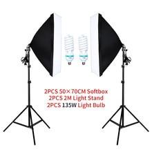 50*70cm Softbox Photography Lighting Kit Photo Studio Single Lamp Holder Continuous Lighting With 2pcs Bulbs