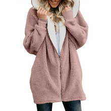 Hoodies Zipper Women Autumn Winter Long Sleeve Hairy Loose Pullover Hooded Sweatshirt Fashion Outerwear Coat 2019