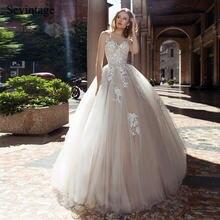 Sevintage элегантные трапециевидные длинные кружевные свадебные