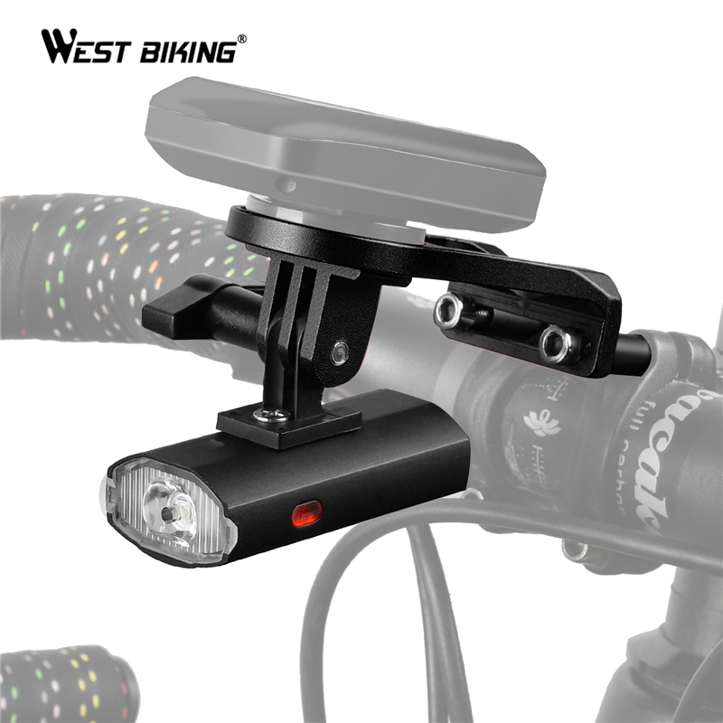 WEST BIKING <font><b>Bike</b></font> Light With GoPro Mount Holder <font><b>For</b></font> Garmin Bryton Computer USB Rechargeable Waterproof 300LM Bicycle <font><b>Flashlight</b></font> image