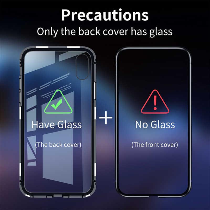 Manyetik adsorpsiyon Metal kasa iPhone SE 11 Pro XS Max XR X geri temperli cam mıknatıs kapak iPhone 7 8 6 6s artı kapak