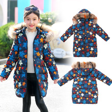 2019 Winter Jacket For Girls Warm Fur Collar Girls Long winter Jacket Hooded Star Print Long Outerwear Coat Girls Clothes DC198 e ting handmade fashion doll clothes winter clothing rose coat jacket skinny star print jean girls suit for barbie accessories