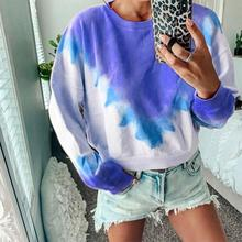 2019 New Plus Size Autumn Winter Fashion Women Long Sleeve Pullover Sweatshirt Printed Tie Dye Crewneck Pullover Top Blouse marled self tie pullover sweatshirt
