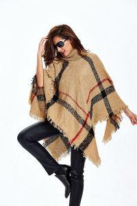 Image 3 - [Visual Axles] 2020 New Fashion Women Winter Warm Wool Plaid Knitting Poncho 7 Colors Provided