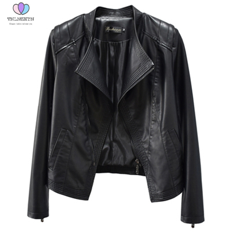 2019 autumn women suit collar slim short PU washed   leather   jacket Outerwear female was thin wild Plus size   leather   jacket coats