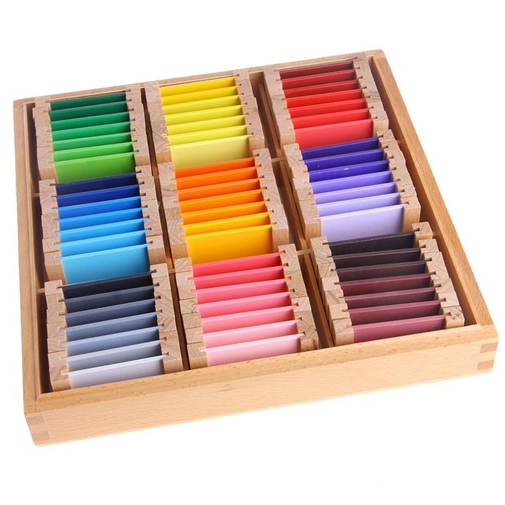 None Montessori Wooden Sensorial Learning Color Tablet Box Color Card Wood Kids Preschool Color Training Toy Gift