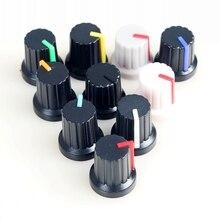 10 sztuk 6mm wał otwór Dia plastikowe gwintowane radełkowane gałki potencjometru czapki pokrętła enkodera pokrętła regulacji głośności