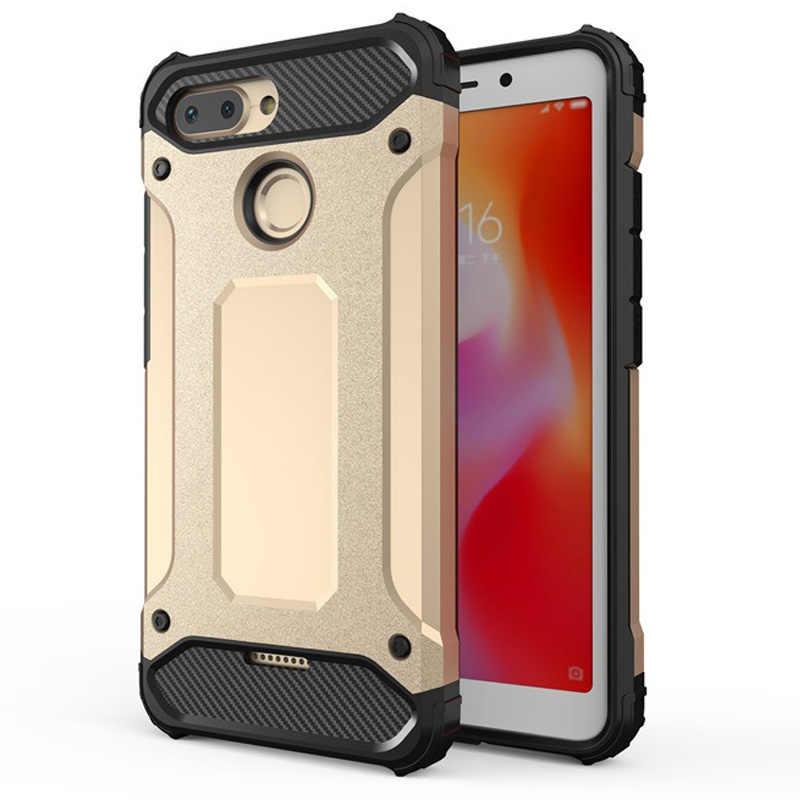 Para Redmi 6 caso armadura de silicona resistente a prueba de golpes a prueba duro cubierta funda protectora para Xiaomi Redmi 6 caso