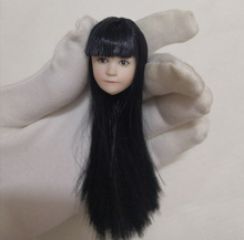 1/6  Lovely Child Head straight bangs Sculpt Black Long Hair Asia little cute Girl for 12 Action Figure pale body