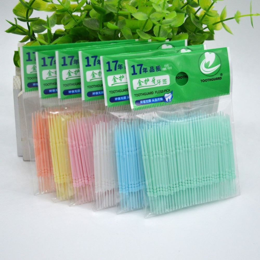 200PCS Disposable Double Head Plastic Tooth Floss Hygiene Dental Floss Interdental Toothpick Healthy For Teeth Cleaning Freeship