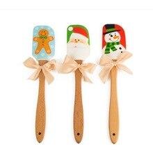 Рождественский пищевой силиконовый скребок для масла с деревянной ручкой скребок для выпечки инструменты для взбивания сливок разделочный кухонный нож 31x6 см