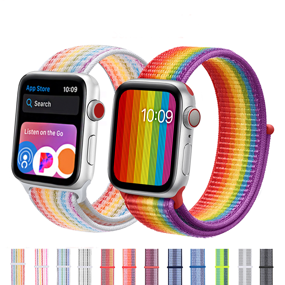Nylon Loop Strap For Apple Watch Band 4/5 44mm/40mm Apple Watch 3 42mm/38mm Iwatch Series 5/4/3/2 Colorful Connector Watchband
