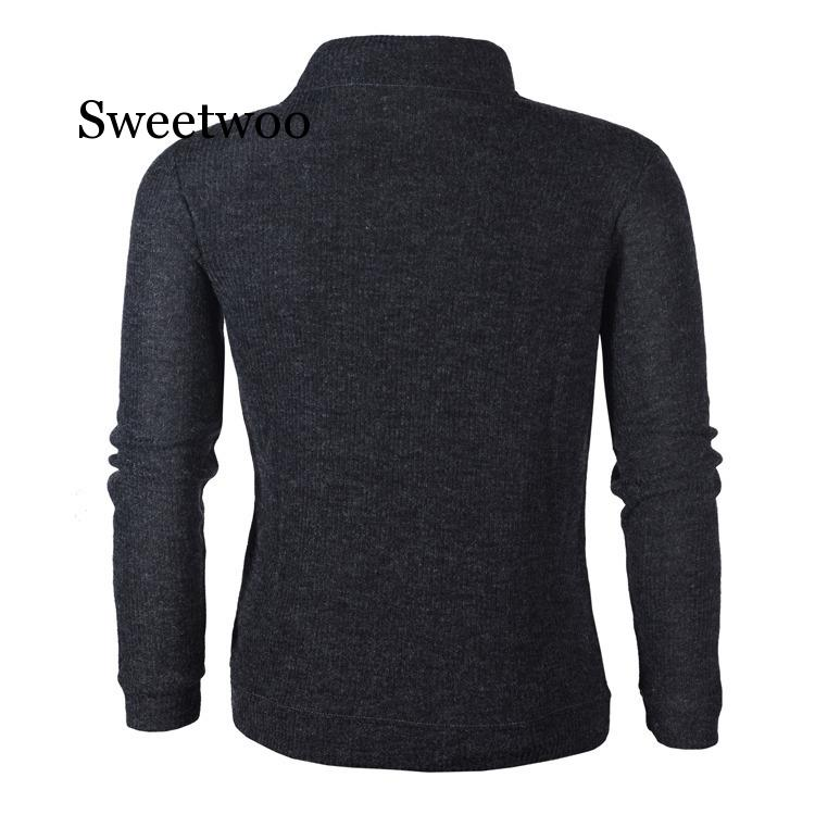 2020 Autumn Men's Sweater Pullover Male Long Sleeve Horn Button Knitted Turtleneck Sweaters slim fit Black Gray Pullovers