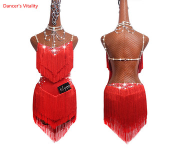 Selling Latin Dresses For Women Latin Dance Skirt Tango Salsa Gogo Dance Costume Party Dancer Singer Fringe Tassel Red Dress