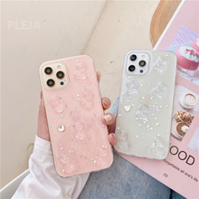 Glitter Transparent Bear Case For iPhone 12 mini 11 Pro Max X XR XS Max SE 2020 7 8 plus Silicone Cover Luxury Cute Phone Cases