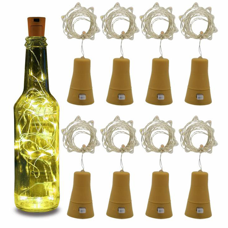 Solar Powered Wine Bottle Cork Festival Outdoor Light Garland Lights Outdoor Fairy Light 1M/2M Shaped LED Copper Wire String