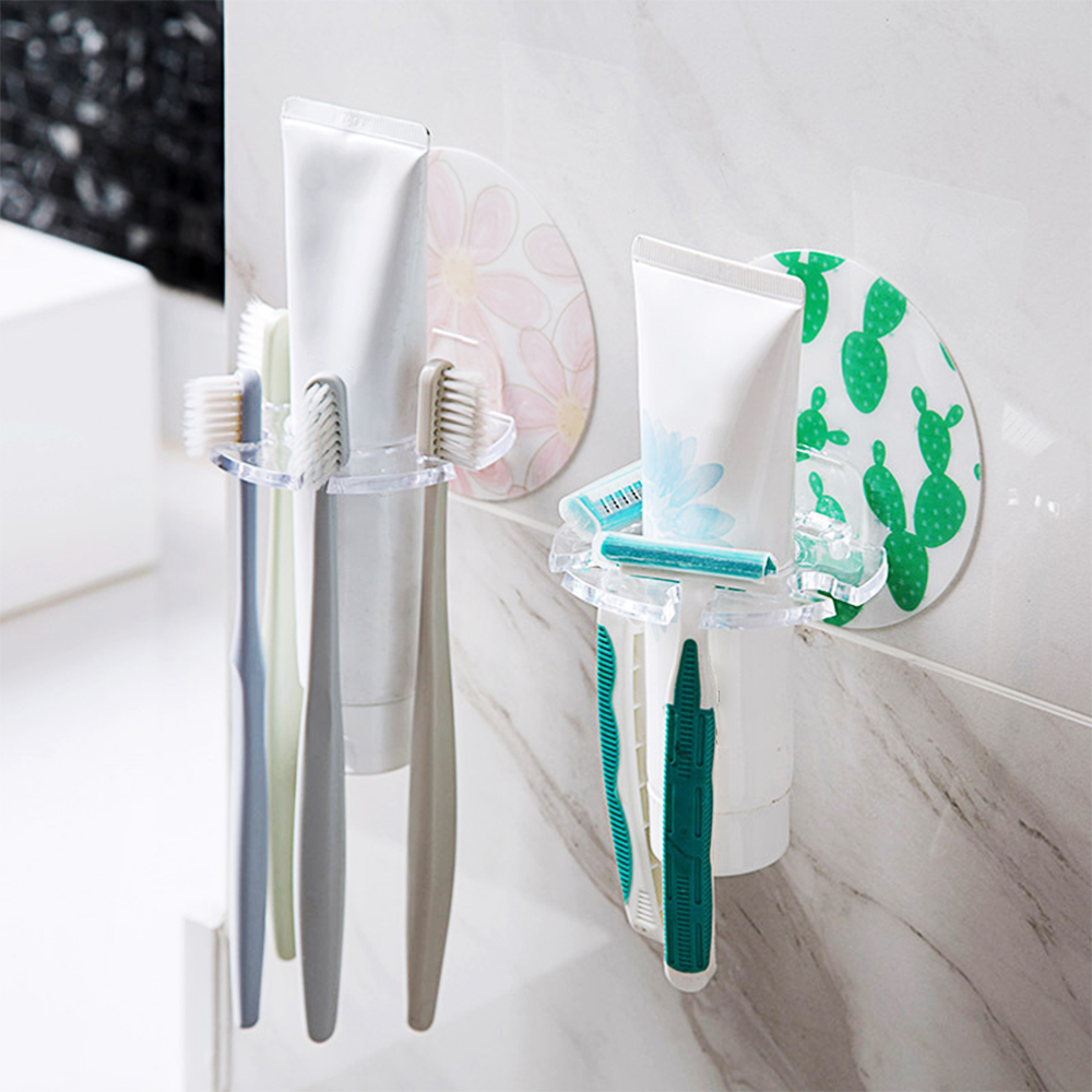 1PC Punch-Free Plastic Toothbrush Holder Toothpaste Storage Rack Razor Toothbrush Dispenser Bathroom Storage Box Accessories