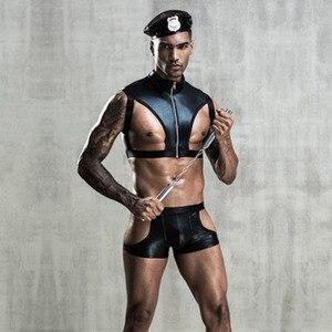 Mâle sexy robe de police en cuir noir sexy sous-vêtements chaud sexy uniforme de police jeu de rôle robe de sexe pour les hommes adultes