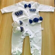 Bebê macacão meninas meninos infantil roupas de algodão 4 pçs definir chapéu sapatos luvas bem-vindas recém-nascidos coroa jóias anjo asa pijamas roupa
