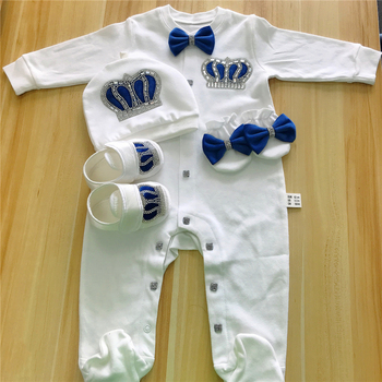 Baby Rompers Girls Boys Infant Cotton Clothes 4Pcs Set Hat Shoes Gloves Welcome Newborn Crown Jewelry Angel Wing Pajamas OUtfit