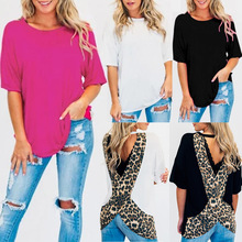 2019 Sexy Tops Summer Womens Tops and Blouse Round Neck Leopard Printed Backless Hollow Out Short Sleeve Women Blouse