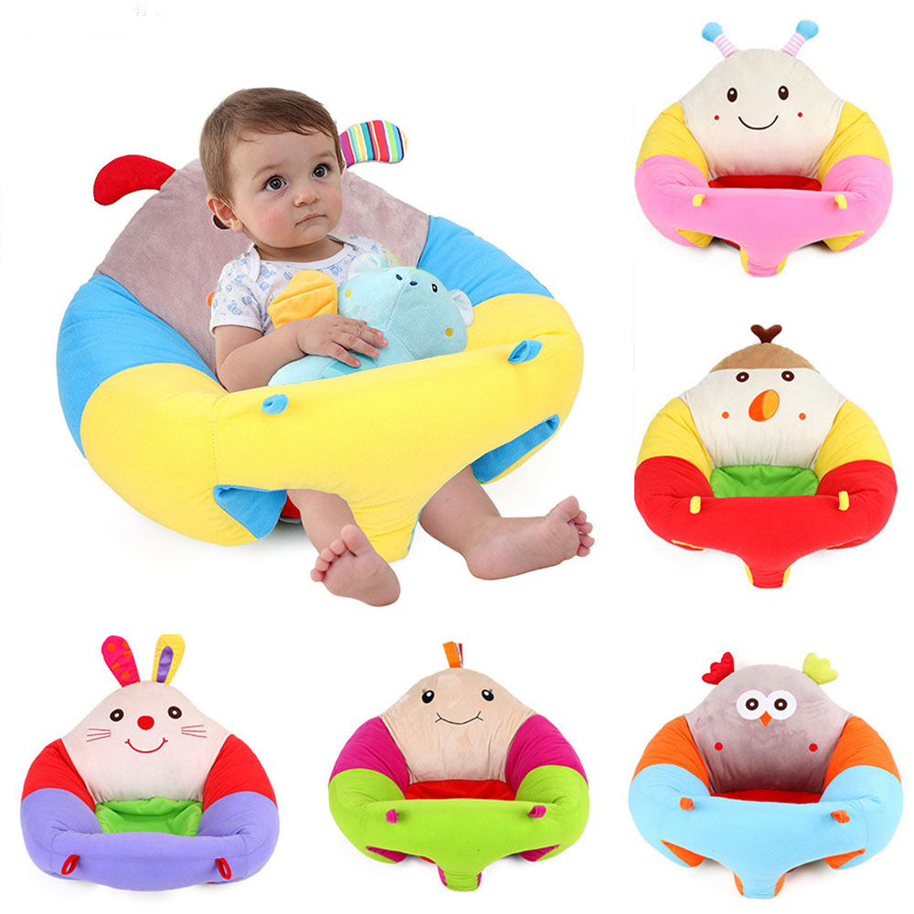 Baby Seats Sofa Infant Learning Chair Plush Cartoon Animal Sofa Breathable Cotton Stuffed Toys Toddler Learning To Sit