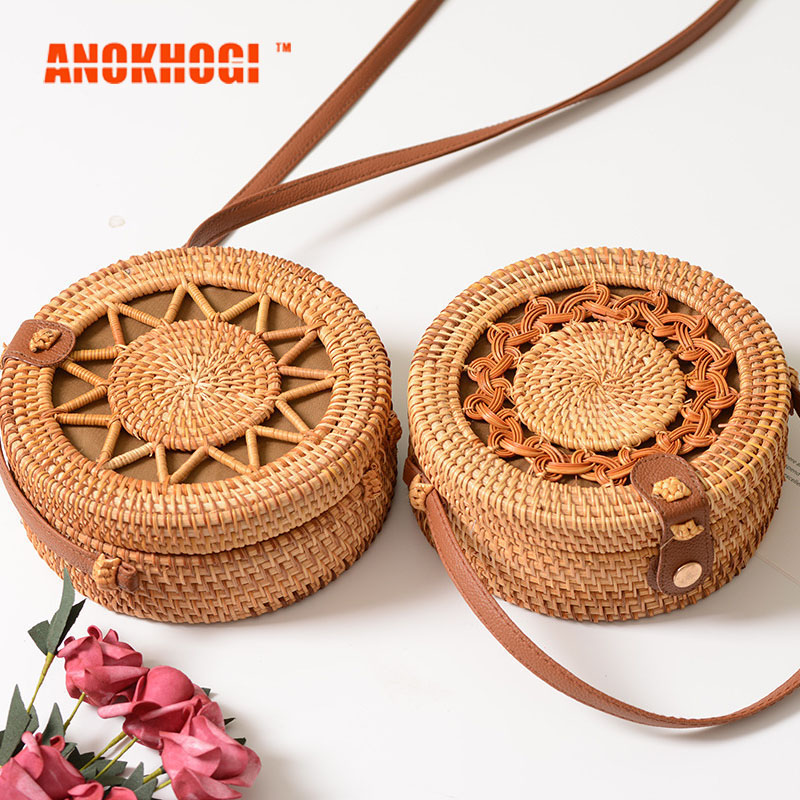 Handmade Women Casual Circle Woven Rattan Bag Natural Color Fashion Crafts Fashion Shoulder Bag MB660