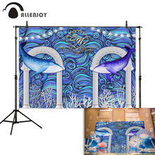 Allenjoy Marine wedding photocall photophone whale arch pearl Wave summer party backgrounds photography backdrop photobooth