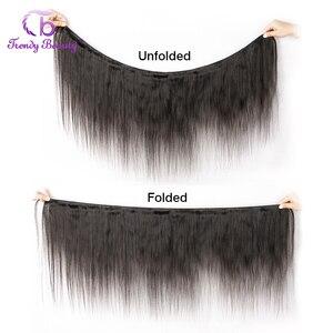 Image 2 - Modne piękne brazylijskie pasma prostych włosów z koronkowym czołem 100% wiązki ludzkich włosów z koronkowym przednim średnim stosunkiem nie remy