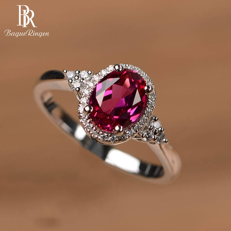 Bague Ringen 925 סטרלינג כסף טבעת לאישה עם סגלגל רובי חן זירקון כסף תכשיטי יום נישואים נשי מסיבת מתנה