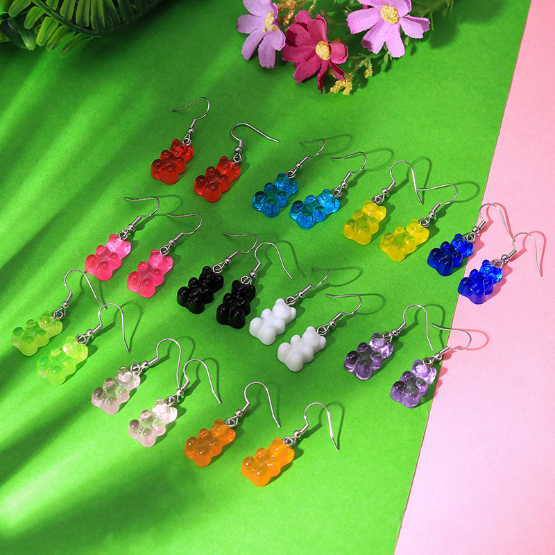 Hcbf054dc050b41618617cb2ccf70d1076 - 1 Pair Creative Cute Mini Gummy Bear Earrings Minimalism Cartoon Design Female Ear Hooks Danglers Jewelry Gift
