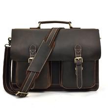 Crazy Horse Leather Business Briefcase man Genuine cow Leather handbag