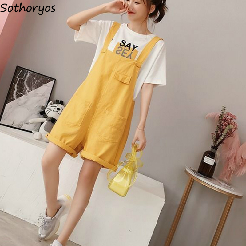 Rompers Women Pockets Loose Oversize Leisure Solid Simple Daily Outwear Sweet Teens Womens Overalls All-match Slim Streetwear BF