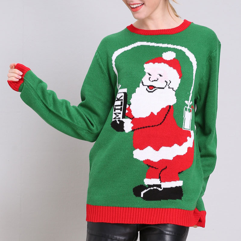 Ugly Sweater Women Funny Christmas Sweater Green Santa Claus Loose Autumn Winter Long Sleeve Pullover Knitted Jumper M90594