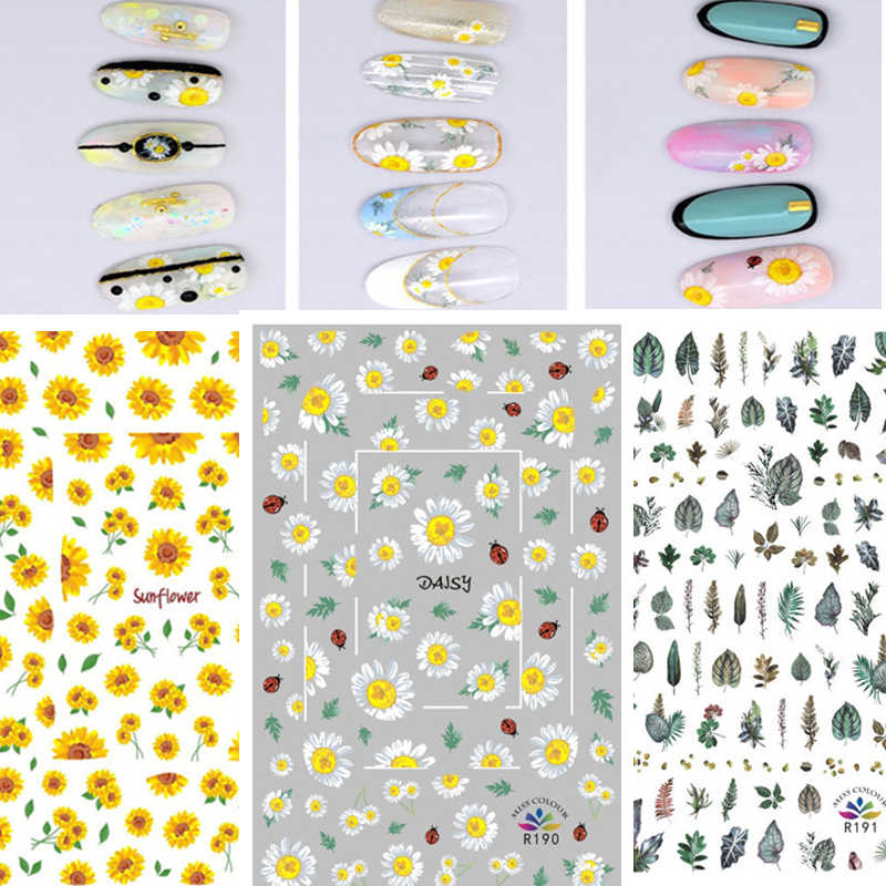 2020 Zomer Nails Ontwerp Sticker Mode Nail Art Sticker Specimen Daisy Bloem Rose Wraps Slider Voor Nail Art Decoratie Manicure