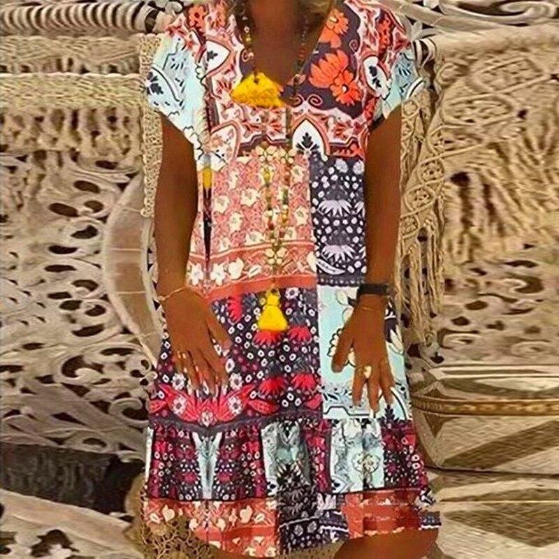 Daisy Polka Dots Print Summer Dress Women Plus Size V-neck Vintage Party Dress Female Short Sleeve Loose A-Line Dresses Vestidos 5
