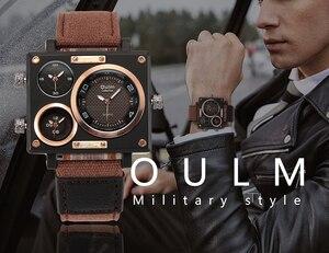 Image 2 - OULM שעון גברים למעלה מותג יוקרה קוורץ שעון יצירתי מזדמן ספורט שעונים ניילון רצועת זכר שעוני יד עמיד למים הנמכר ביותר